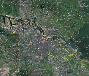 De meest logische, circa 35 km lange, route van K2 van kweekkom tot Amstel in 2016