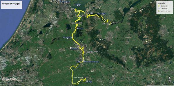 Waarschijnlijke route die de Vreemde Vogel aflegde tussen juni 2012 en augustus 2017