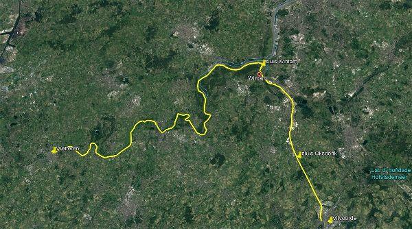 Het vermoedelijke parcours van de marathon-Tsjech